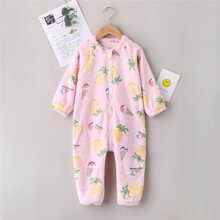 Toddler Girls Pineapple Pattern Zip Front Plush Onesie