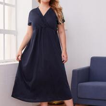 Plus Lace Panel Surplice Front Nightdress