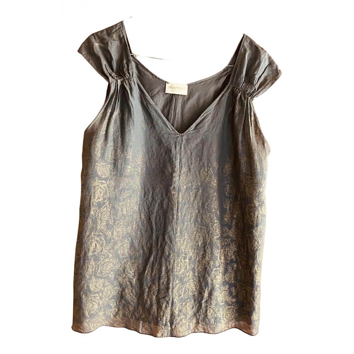 Momoni - Top   pour femme en soie - gris