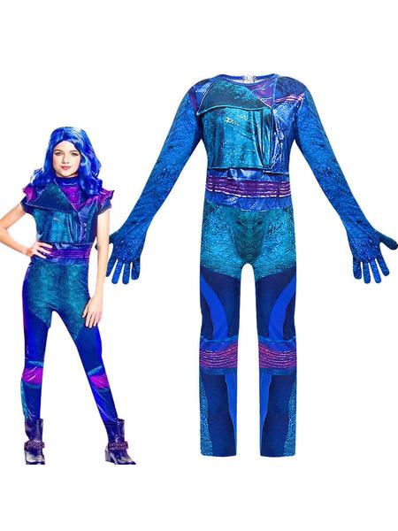 Milanoo Descendants 3 Girls Mal Fancy Costumes Dress Up Onesies Kids Evie Halloween Cosplay Outfits