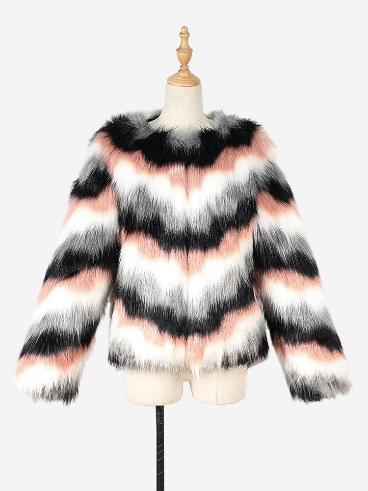 Faux Fur Stripe Long Sleeve Autumn Winter Short Coat