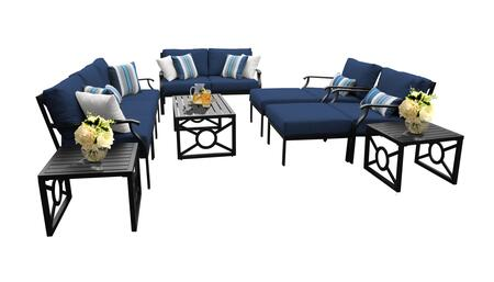 MADISON-12h-NAVY Kathy Ireland Homes and Gardens Madison Ave. 12 Piece Aluminum Patio Set 12h with 1 Set of Snow and 1 Set of Midnight