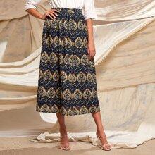 Tribal Print Elastic Waist A-line Skirt