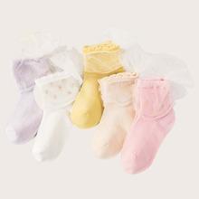 3 Paare Kleinkind Maedchen zufaellige Farbe Socken mit Netzstoff und Schleife Dekor