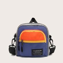 Color Block Zip Front Crossbody Bag