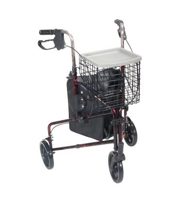 10289rd 3 Wheel Walker Rollator With Basket Tray And Pouch  Flame