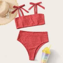 Bikini Badeanzug mit Punkten Muster