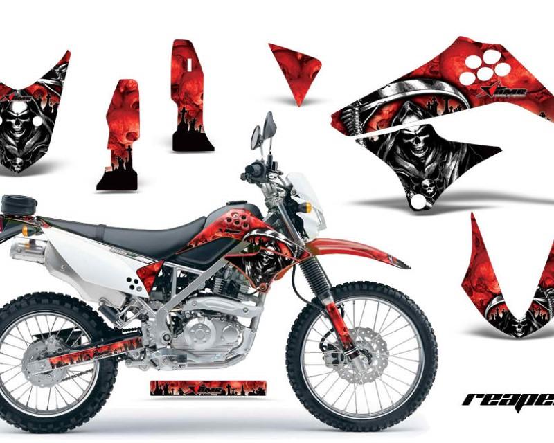 AMR Racing Dirt Bike Graphics Kit Decal Sticker Wrap For Kawasaki KLX125 2010-2016áREAPER RED