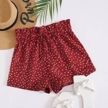 Shorts mit Papiertasche Taille, Kordelzug und Punkten Muster