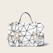 Bolso cartera con patron geometrico