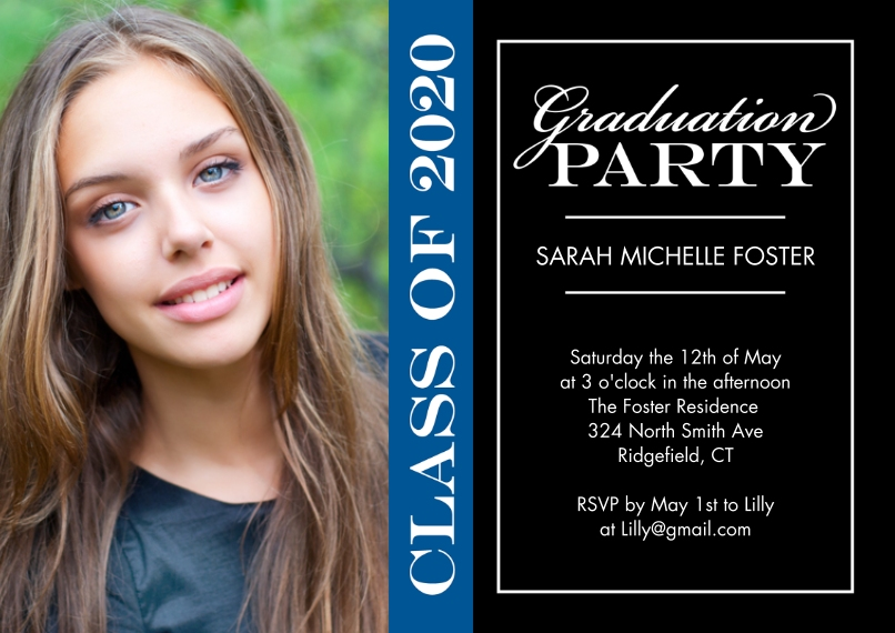 2020 Graduation Invitations 5x7 Cards, Premium Cardstock 120lb, Card & Stationery -Graduation Invite Party 2020 by Tumbalina