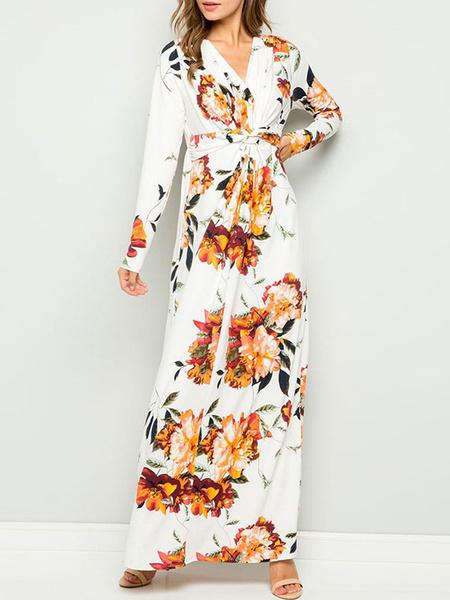 Milanoo Vestidos largos Mangas largas Vestido largo de algodon de poliester con estampado floral blanco con cuello en V y cordones