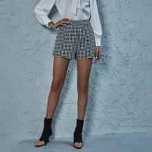 Shorts mit Hahnentritt Muster und hoher Taille