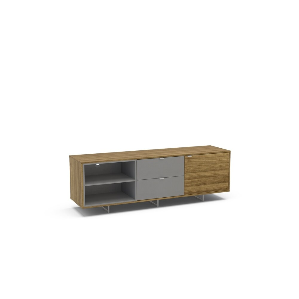 Polifurniture Enviken 68 inch TV Stand, Walnut & Light Gray