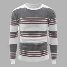Men Contrast Panel Striped Sweater