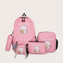 Girls 5pcs Cartoon Graphic Bag Set