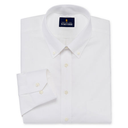 Stafford Mens Non-Iron Cotton Pinpoint Oxford Button Down Collar Stretch Big and Tall Dress Shirt, 18.5 36-37, White