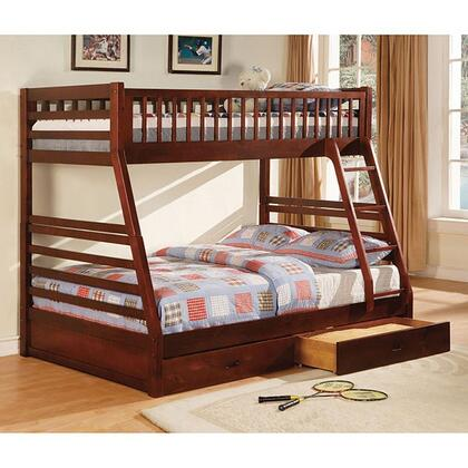 California II Collection CM-BK601CH-1/2 Twin Over Full Size Bunk Bed with 2 Drawers Included  10 PC Slats Top and Bottom  Solid Wood and Wood Veneers
