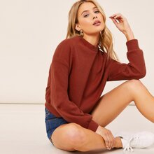 Mock Neck Waffle Knit Pullover