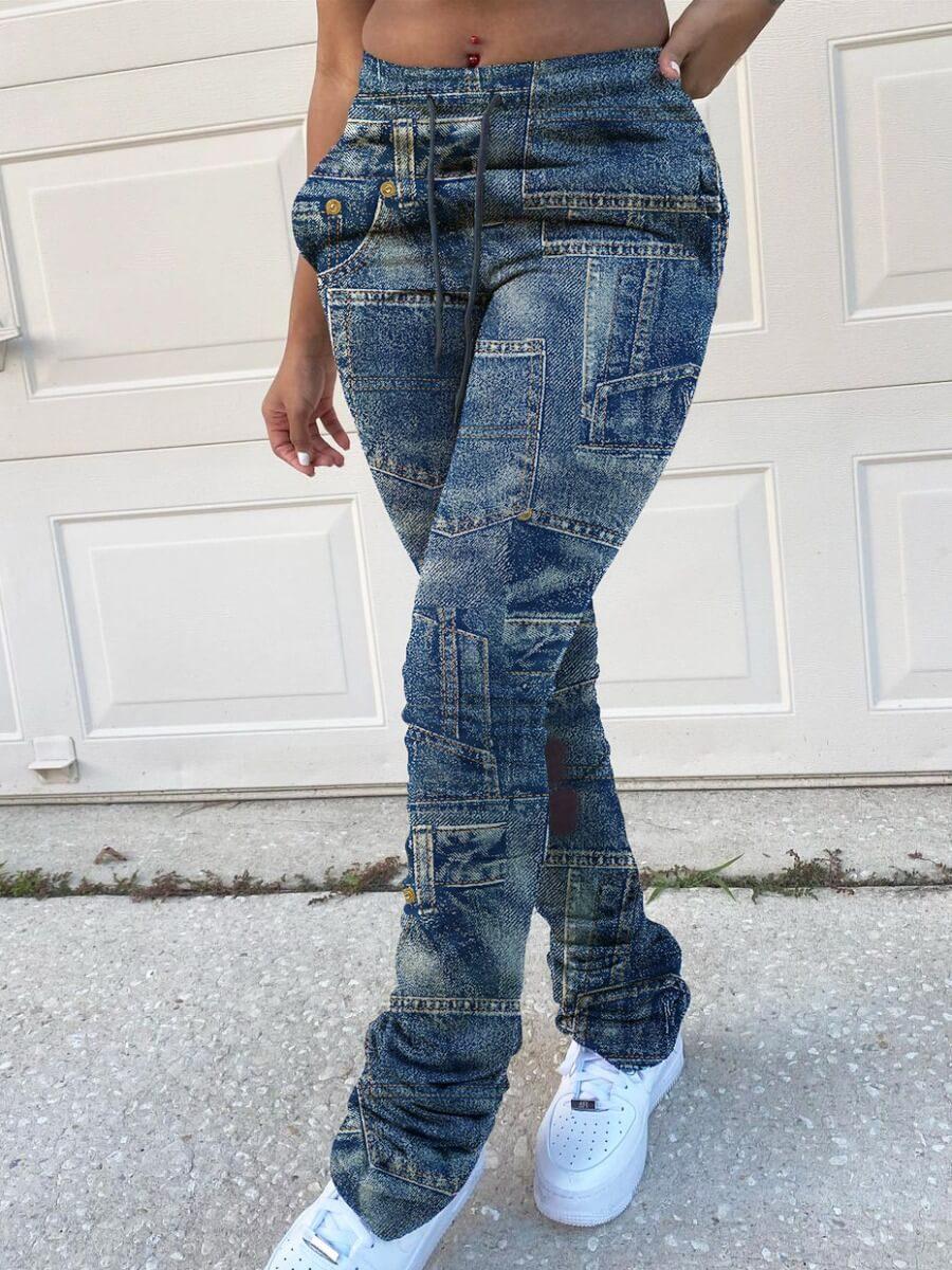 LW Lovely Street Patchwork Blue Pants