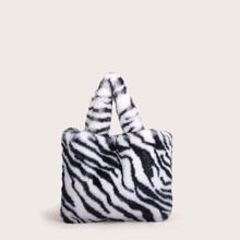Zebra Striped Pattern Fluffy Tote Bag