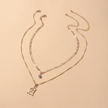 2pcs Letter Charm Necklace