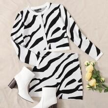 Strickjacke mit Knopfen vorn und Zebra Streifen & Rock Set