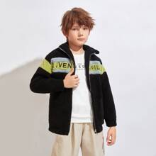 Boys Letter Embroidery Colorblock Teddy Coat