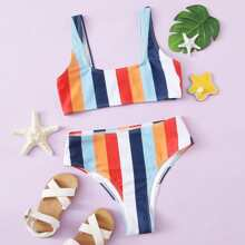 Bikini Badeanzug mit buntem Streifen