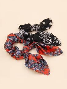 6pcs Paisley Bow Knot Decor Scrunchie