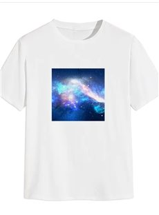 Beddinginn Casual Print Starry Sky Straight Men's T-shirt