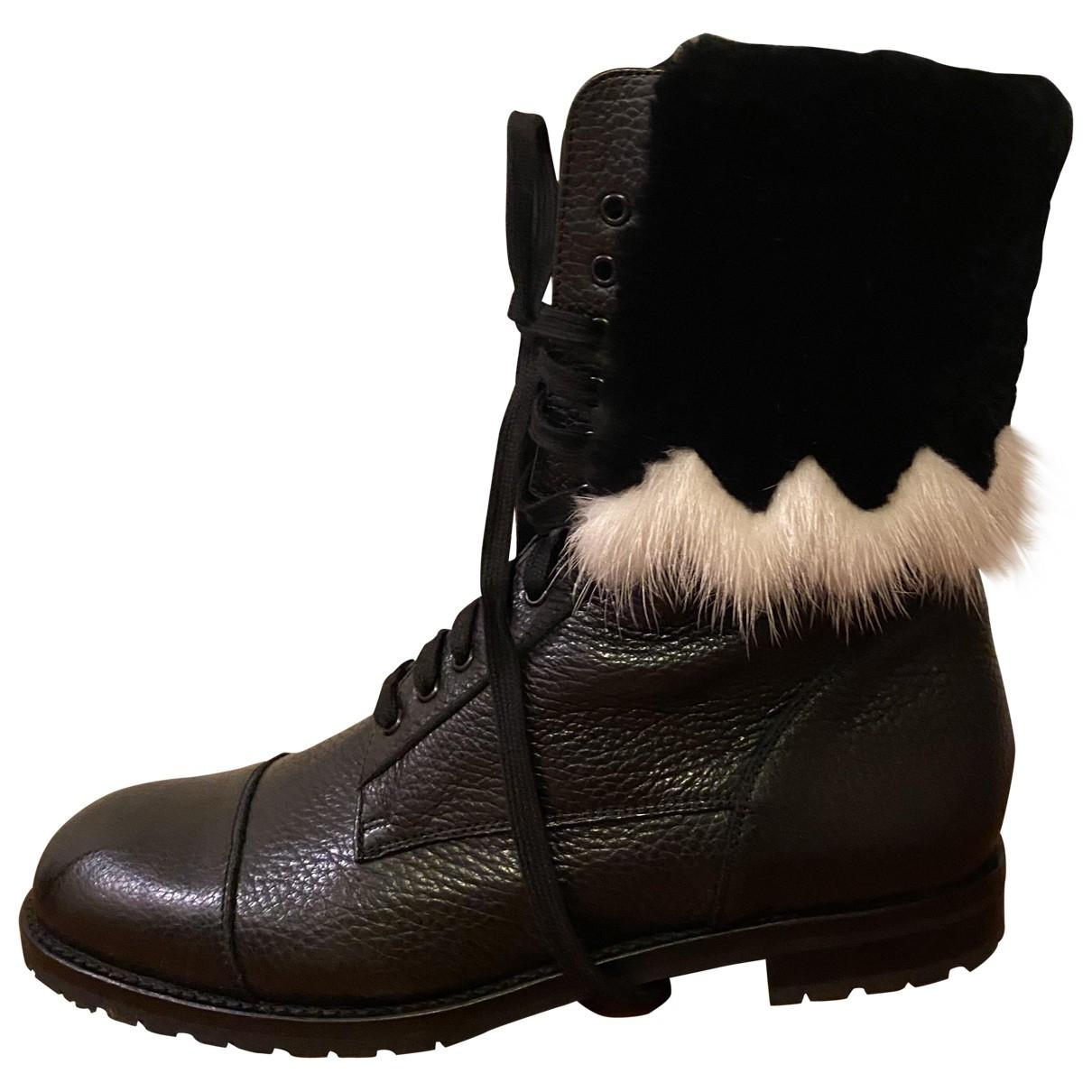 Manolo Blahnik \N Black Leather Ankle boots for Women 39 EU