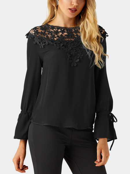Yoins Black Round Neck Bell Sleeves Embroidered Blouses
