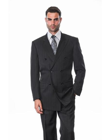 Men's Notch Lapel Double Breasted Wool Black Side Vents Suit