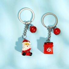 2 piezas llavero con Papa Noel de Navidad