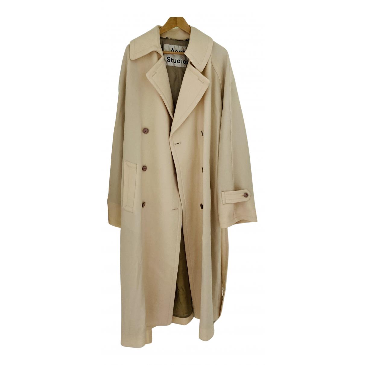 Acne Studios - Manteau   pour femme en laine - ecru
