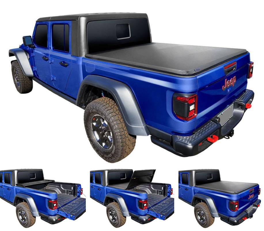 Tyger Auto TG-BC3J1060 T3 Soft Tri-Fold Truck Bed Tonneau Cover Jeep Gladiator JT 2020