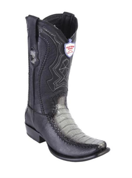 Mens Faded Gray Wild West Caiman Belly Toe Style Handcrafted Boots