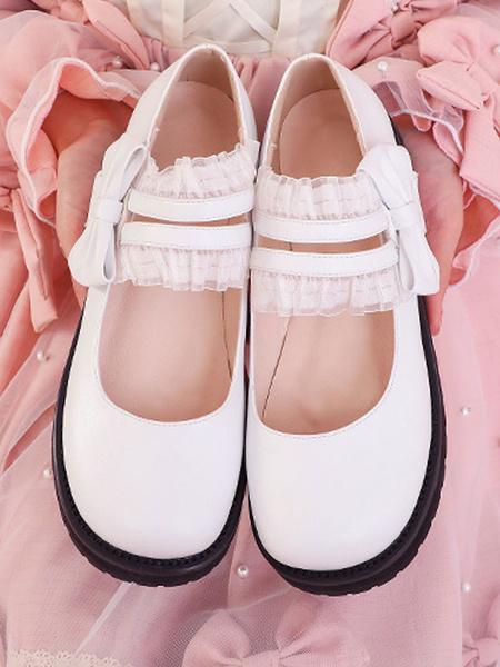Milanoo Sweet Lolita Footwear Black RufflesBows PU Leather Flat Lolita Shoes