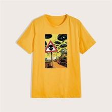 T-Shirt mit Grafik Muster und rundem Kragen