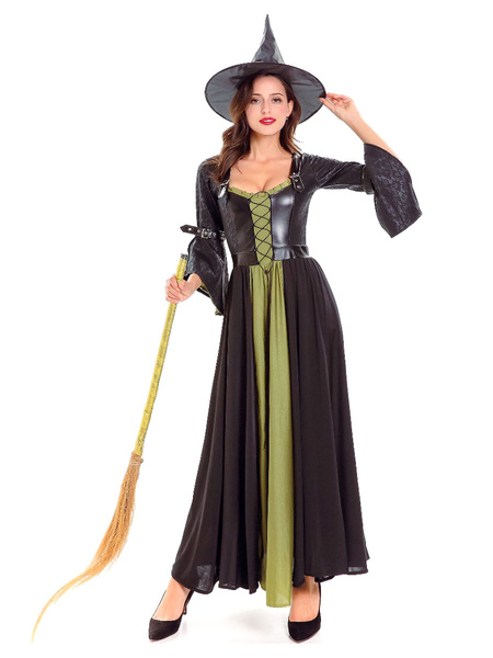 Milanoo Women\'s Carnival Costumes Black Adult\'s Two-Tone Retro Layered Witch Hat Polyester Holidays Dress