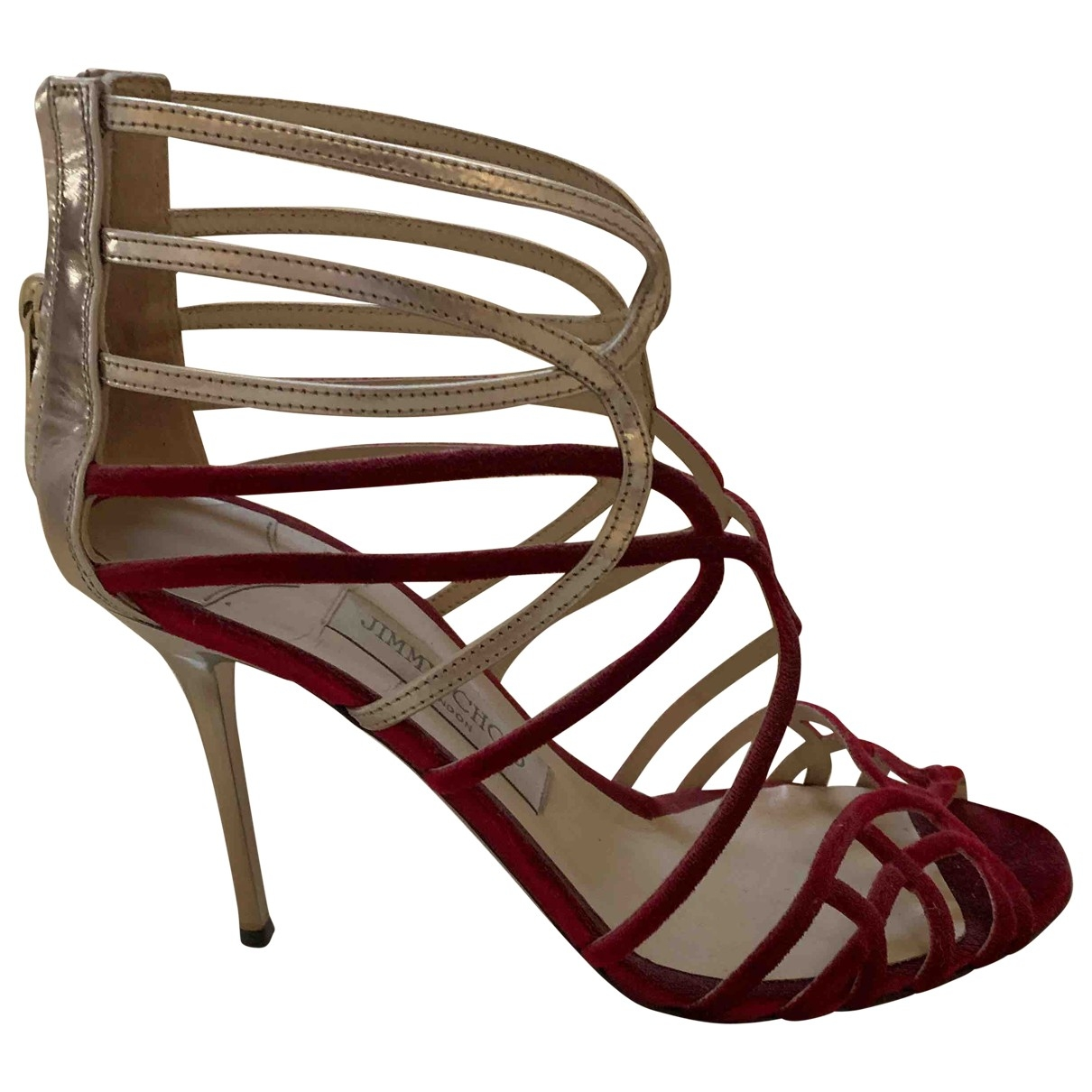 Jimmy Choo \N Sandalen in  Bordeauxrot Veloursleder