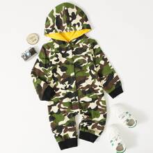 Baby Boy Camo Print Hooded Jumpsuit