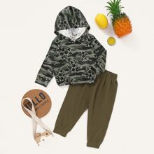 Baby Boy Floral & Camo Print Hoodie With Sweatpants