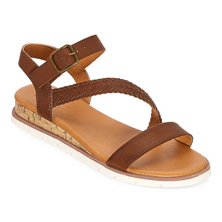 a.n.a Womens University Ankle Strap Flat Sandals, 9 Medium, Brown