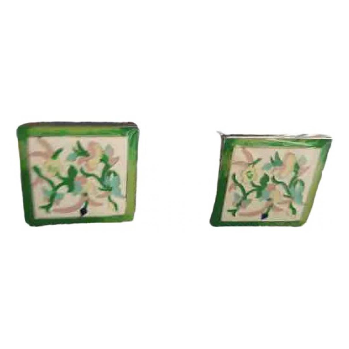 Etro \N Green Silver Cufflinks for Men \N