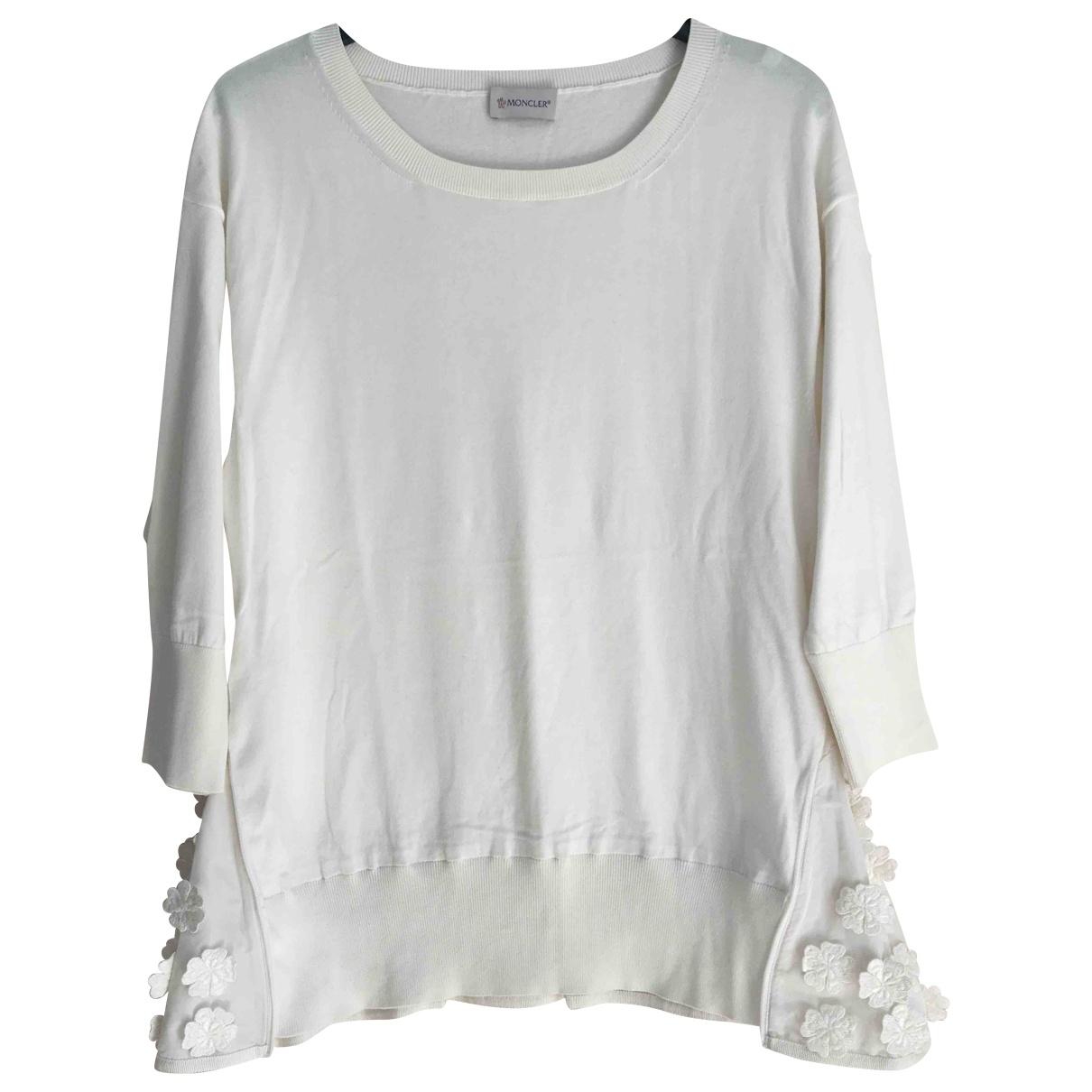 Moncler - Pull   pour femme en coton - blanc
