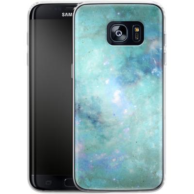 Samsung Galaxy S7 Edge Silikon Handyhuelle - Abstract Galaxy - Light Blue von Barruf