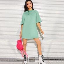 Drop Shoulder Solid Tee Dress