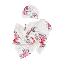 Newborn Girl Flower Print Wrap Blanket & Hat Photo Outfit